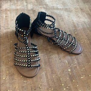 Olivia Miller Gladiator Sandals, Black & Gold, 9
